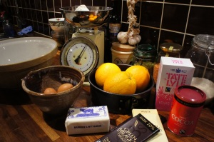Ingredients for chocolate and garlic, er, no… chocolate and orange marble cake