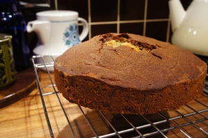 A chocolate and orange marble cake, with a big hole in the top. Well, I had to make sure it was cooked…